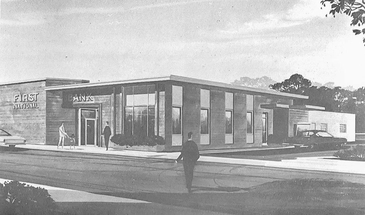 Picture of First National Bank moved to its new quarters in July 1923.
